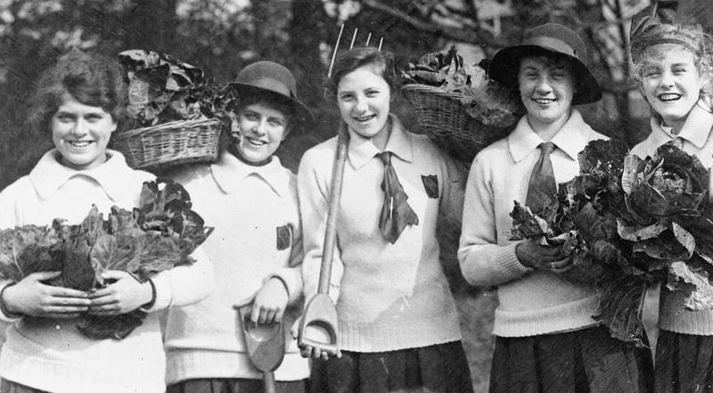 banner-school-girls-with-tools-and-vegetables-grown-at-their-school