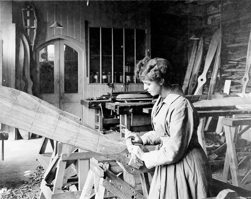 A woman makes a wooden propeller at an aircraft factory  From IWM