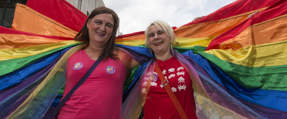 Davina Cockshott,  is much happier as a women, attended the parade with the support of her sister, Julia Cockshott.