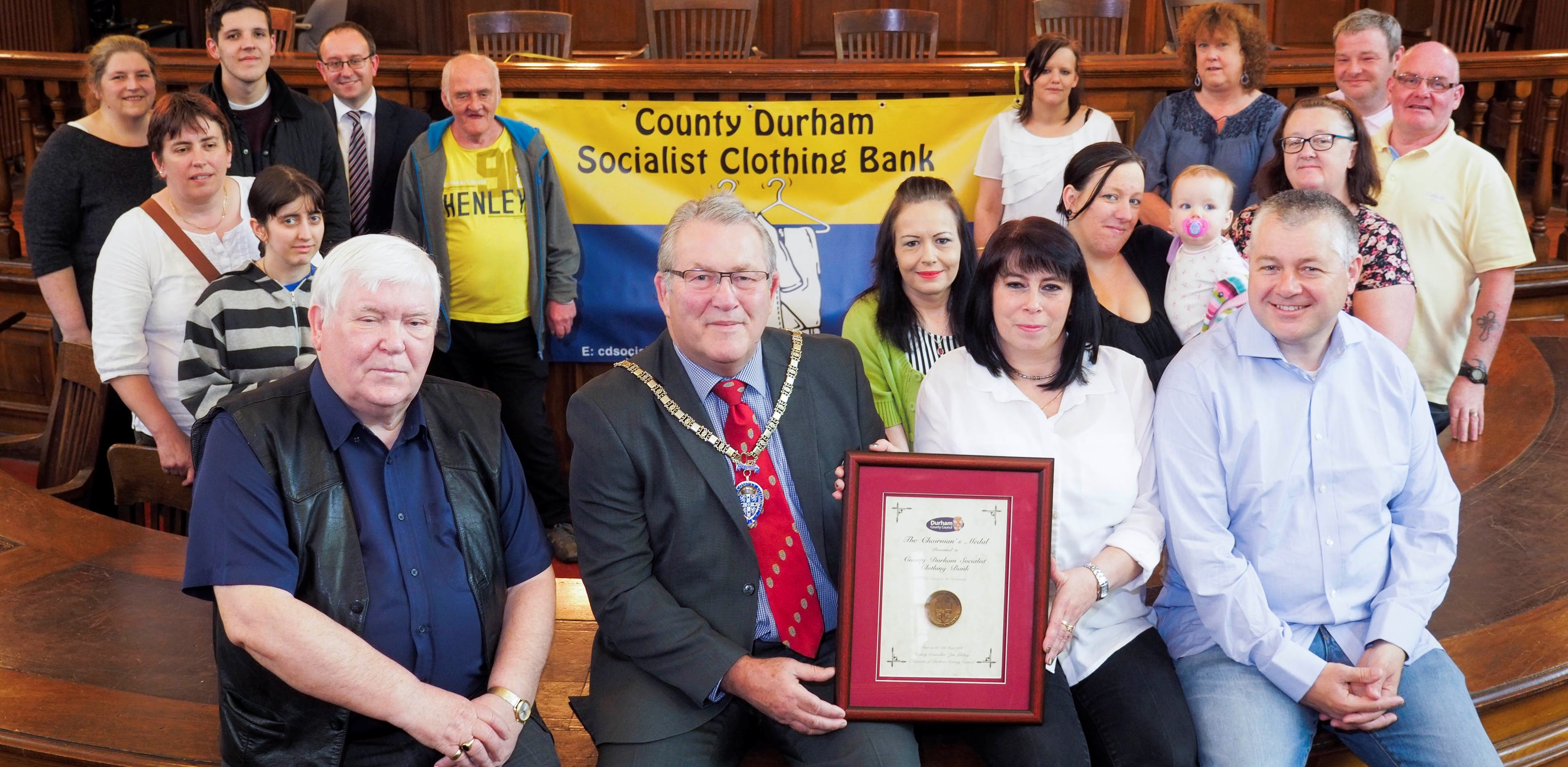 Presentation ceremony of 'The Chairman's Medal' by Durham Council to the County Durham Socialist Clothing Bank, Redhills, Durham, 18/5 2016. Clothing bank volunteers with front row l to r: Dave Hopper, Cllr Eddie Bell, (vice chairman of Durham County Council), Dawn Willson, (two l's) and Trevor Bark, (Unite). Photo©: Mark Pinder +44 (0)7768 211174 pinder.photo@gmail.com