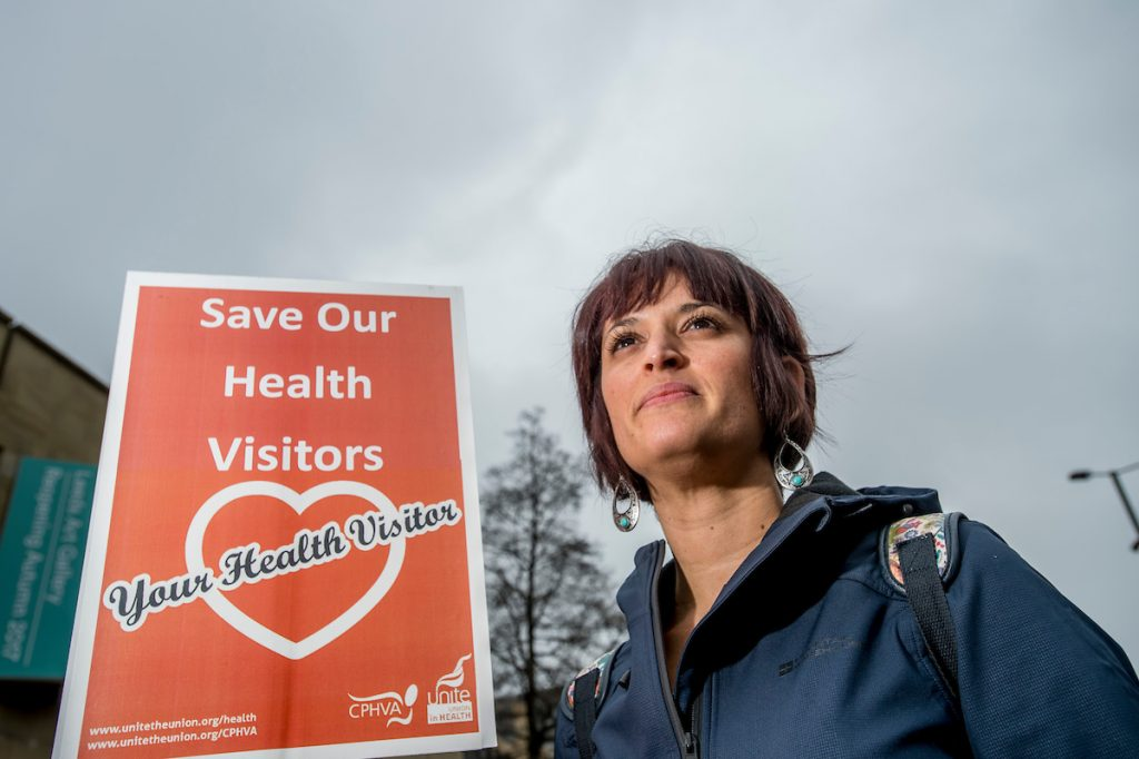 Leeds April 1st 2017. Becky Badon, Student Health Visitor at the University of Leeds. Approximately a 1000 campaigners fighting to save the NHS attended a march & rally in Leeds city centre, Yorkshire