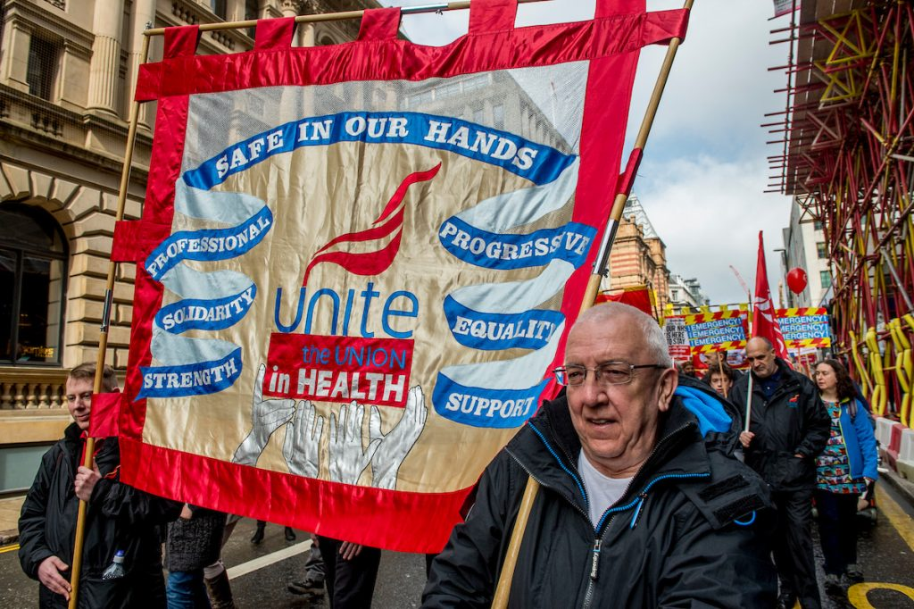 Leeds April 1st 2017. Approximately a 1000 campaigners fighting to save the NHS attended a march & rally in Leeds city centre, Yorkshire