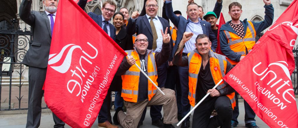 Bin workers with part of the legal team Unite secures High court ruling halting Birmingham bin worker redundancies. Unite called on Birmingham City council to honour the Acas agreement and resolve the Birmingham bin dispute after the High Court ruled in the union's favour today.