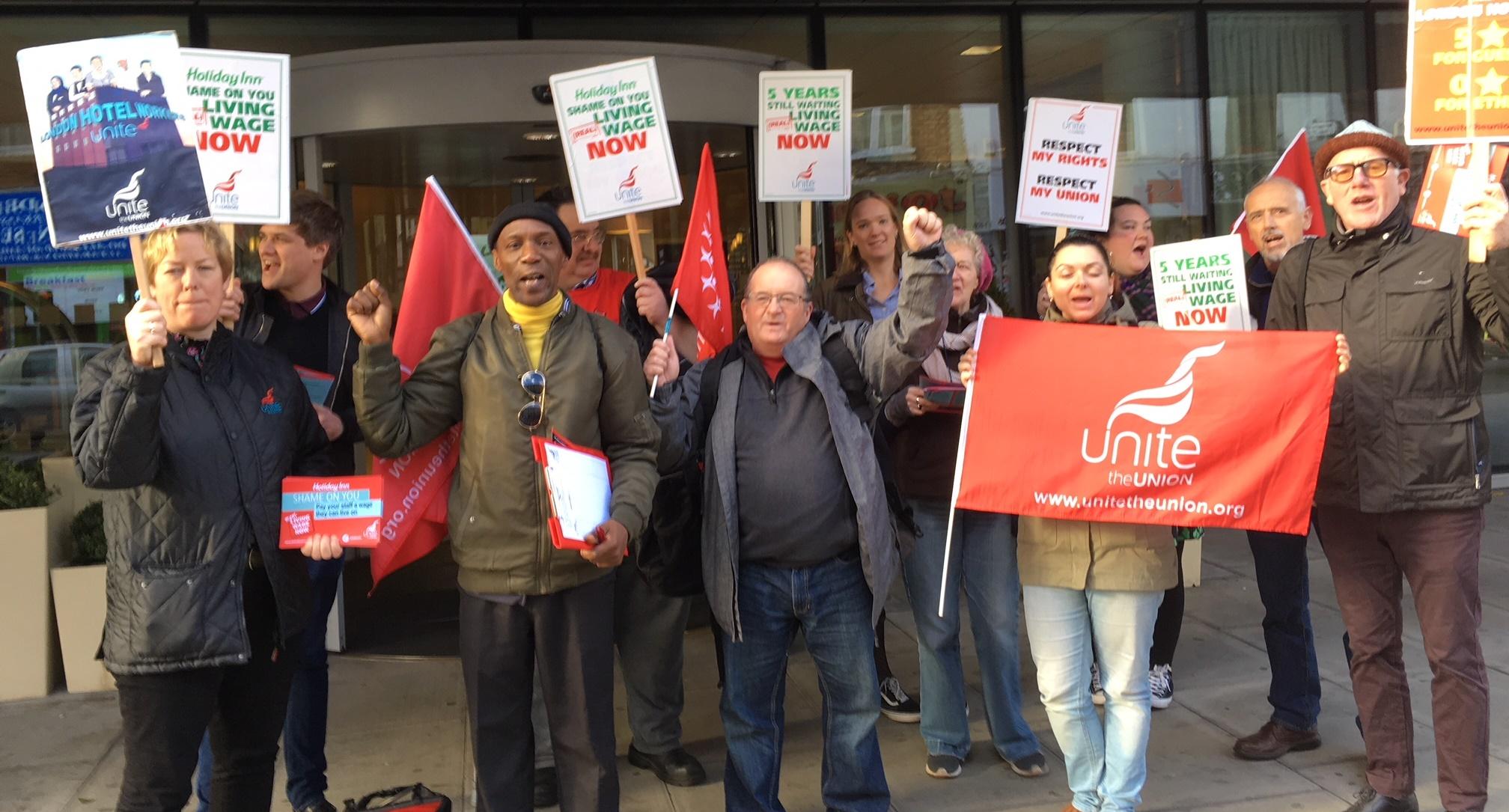 holiday inn living wage protest
