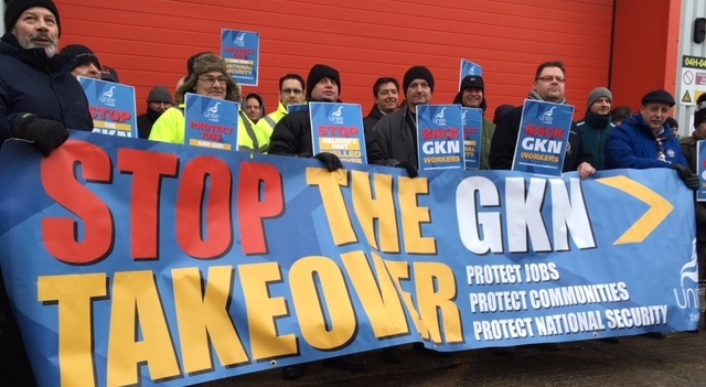 Airbus workers in Bristol protest GKN takeover
