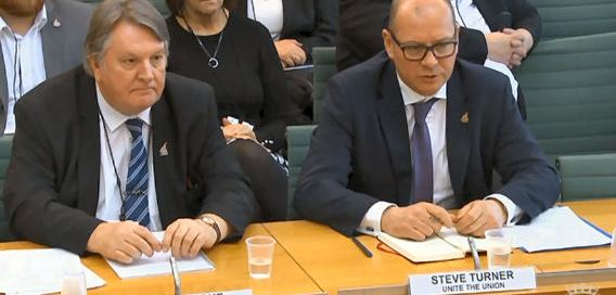 Unite's Steve Turner and Tony Burke give evidence at BEIS GKN takeover hearing