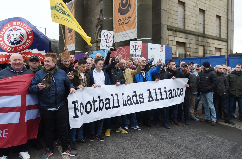 Pictured people attend The Football Lads Alliance rally  beginning in Curzon Street and ending on Smallbrook Queensway, Birmingham city centre, key speaker at the event is anti-Islam activist Anne Marie Waters, who unsuccessfully ran to be the leader of UKIP in 2017.