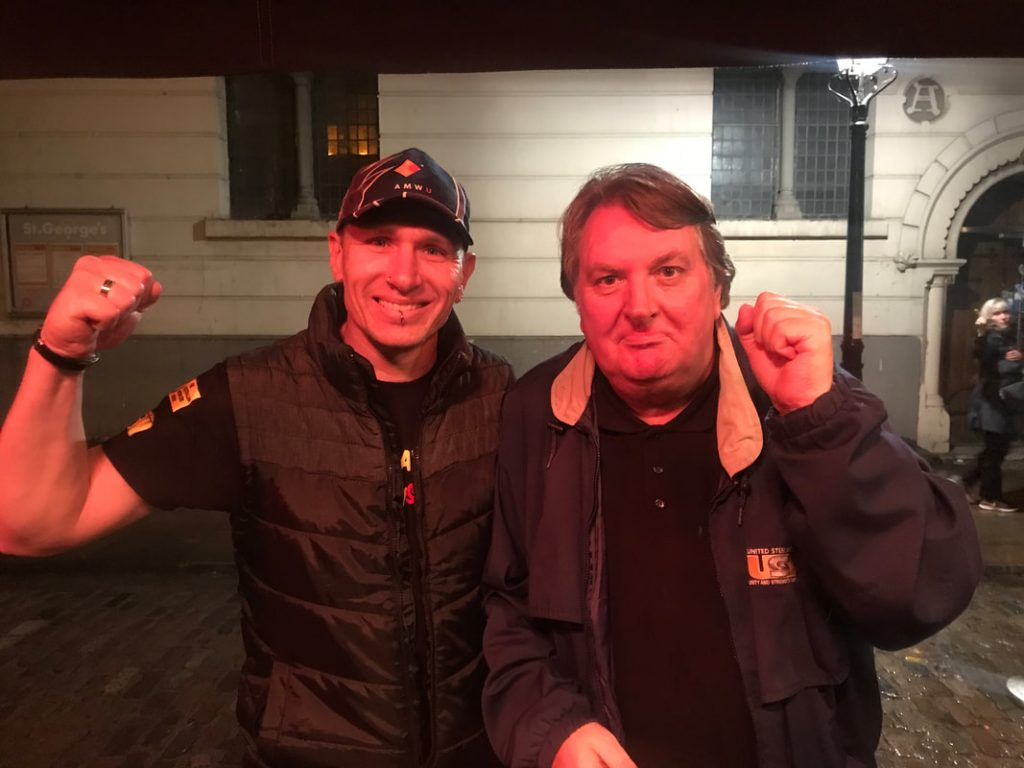 AMWU rep Troy Carter with Unite AGS Tony Burke