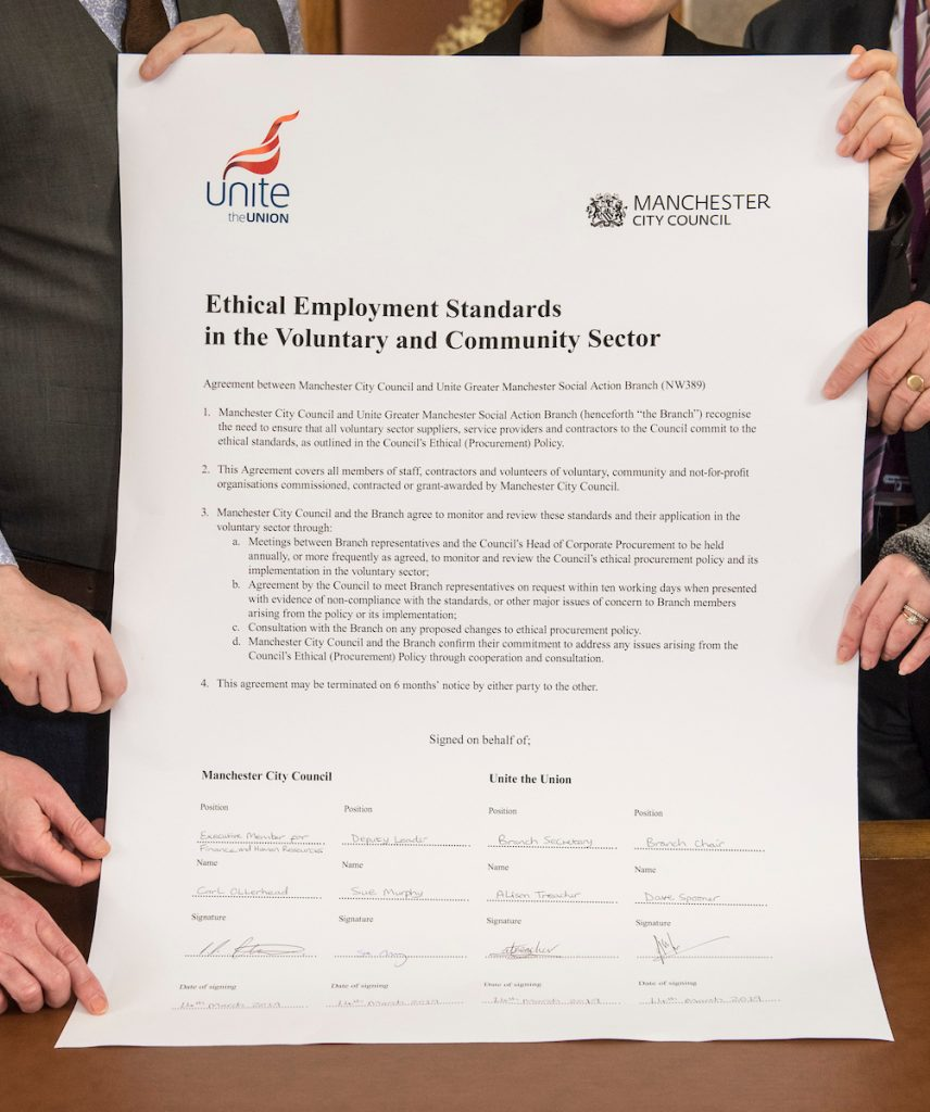 Manchester council and Unite sign ground breaking agreement on ethical employmentn for voluntary sector.