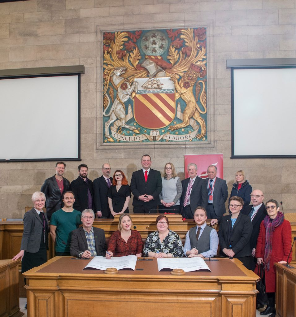 Unite members, Manchester City councillors and council officers.
