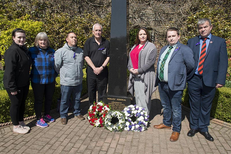 28/04/19 The Lord Provost Barney Crockett led the International Workers' Memorial Day event at Persley Walled Garden inAberdeen. L-R Gemma Clark, Donna Clark, Shaun Morrice, Tommy Campbell, Shauna Wright, Liam Knox, Graeme Farquhar,