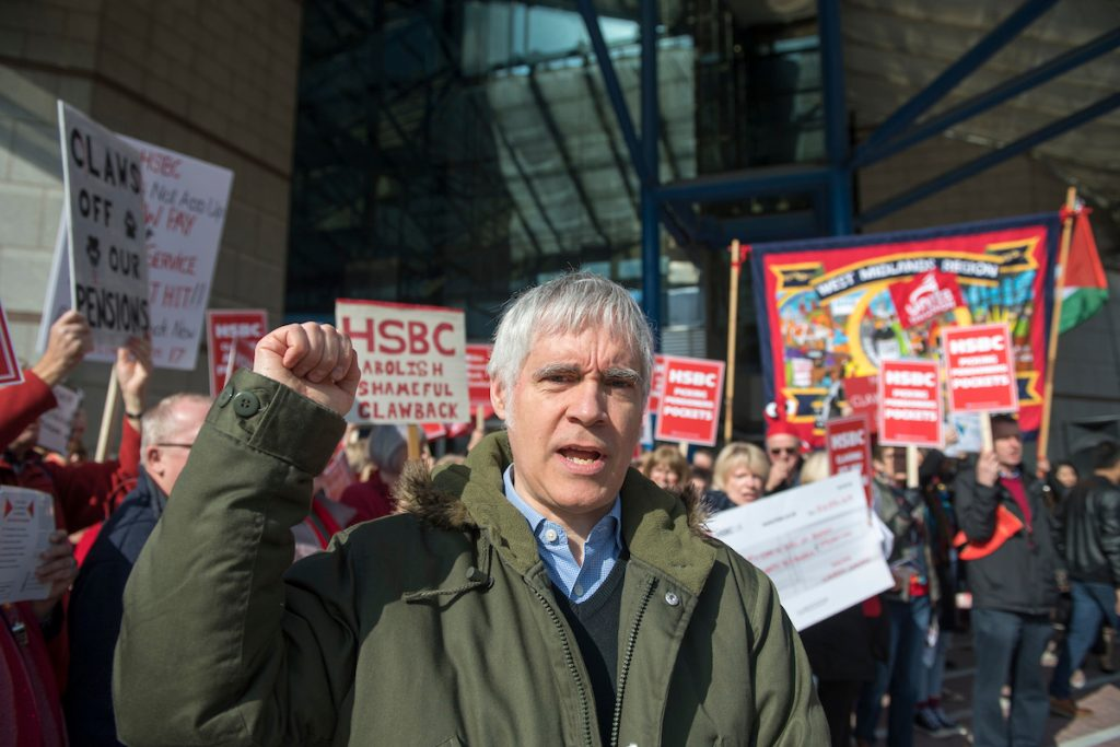 HSBC AGM demonstration at the ICC Birmingham by Unite The Union