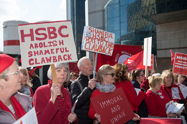Midland Clawback campaigners, Unite members, demand pension justice