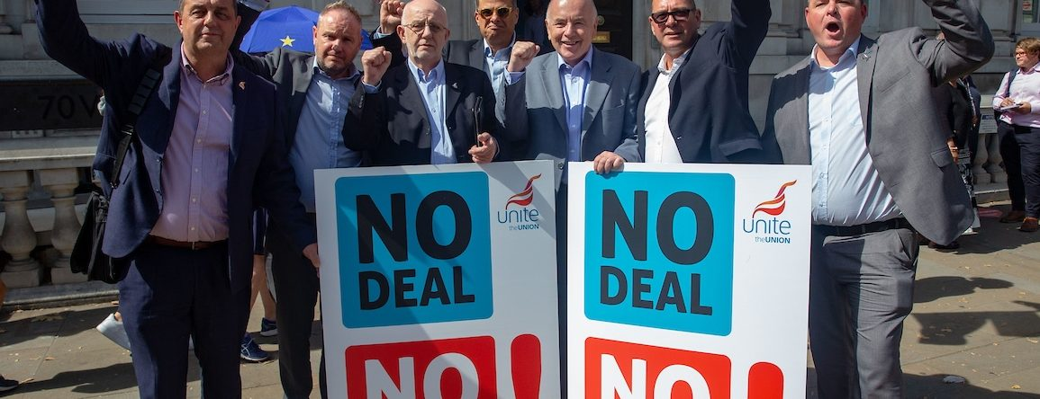 Unite Delegation with assistant General Secretary, Steve Turner, and MP Jack Dromey  at the Cabinet office after their meeting with Michael Gove. They are urging him to avoid a 'No Deal' Brexit