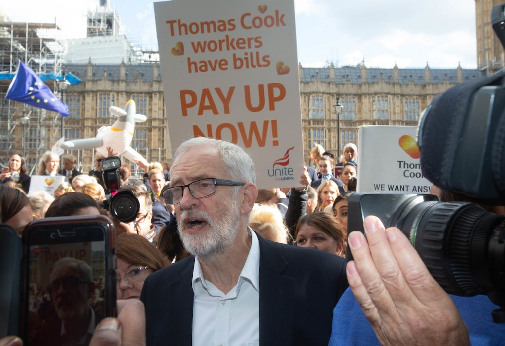 Jeremy Corbyn with ex-Thomas Cook staff
