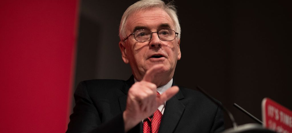 "LONDON, ENGLAND - NOVEMBER 13: Labour's Shadow Chancellor John McDonnell delivers a speech on the party's pledges for the NHS on November 13, 2019 in London, England. Labour has unveil a ""rescue plan"" for the NHS in England with an extra £26bn of funding a year paid for by higher taxes on companies and higher earners, as the party puts the health service at the heart of its election pledge. (Photo by Dan Kitwood/Getty Images)"