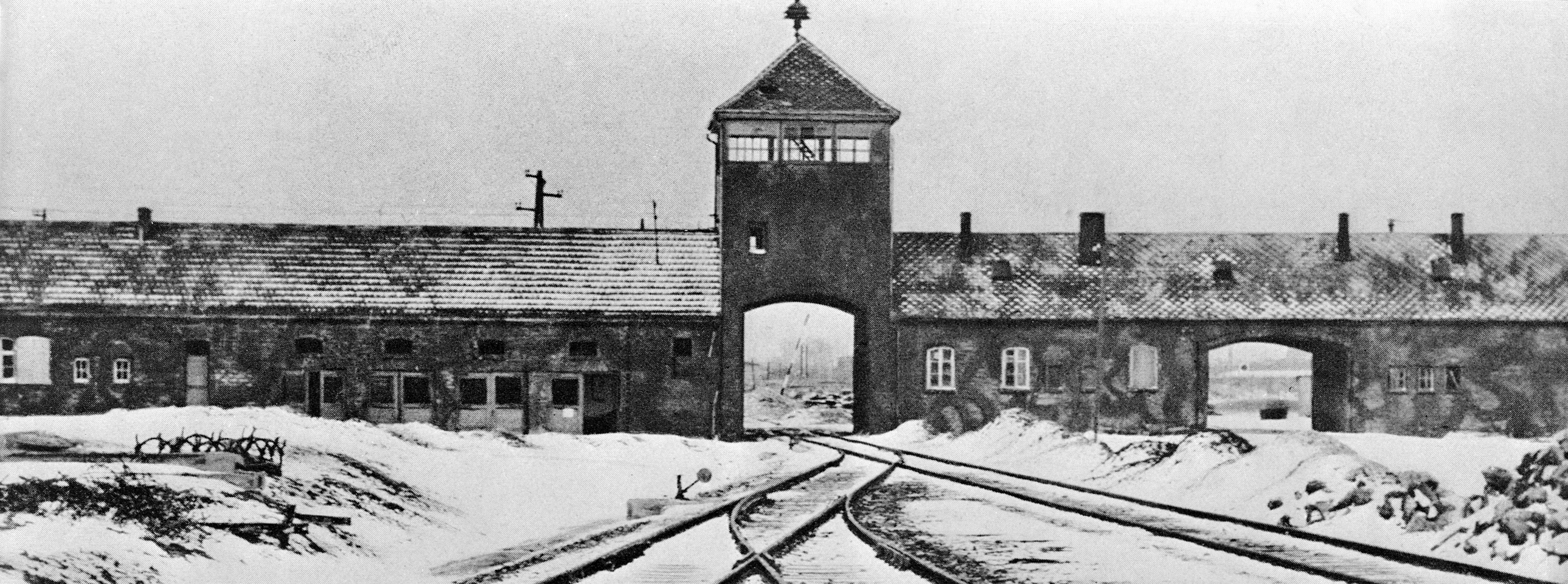(Original Caption) Entrance to the German concentration camp of Auschwitz-Birkenau in Poland. Undated B/W photograph.